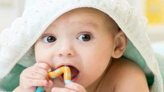 歯固めで遊んでいる赤ちゃん